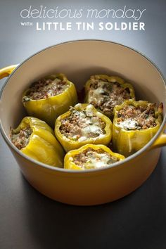 Ground venison stuffed peppers, I love this idea! The peppers and herbs would be a great accompaniment to the venison. Deer Recipes, Game Recipes, Recipies, Smoker Recipes, I Love Food, Good Food, Yummy Food, Poblano, Cooking Recipes