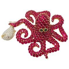 Marvin Katz Opulent Octopus Ruby Diamond Brooch