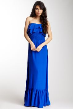 Silk Strapless Long Ruffle Dress