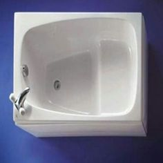 Tiny soaking tub. 36 x 30 $489 Via builder-usa.com -->> link disabled. Go to www.bathroom-envy to find these tubs. #teenyspaces