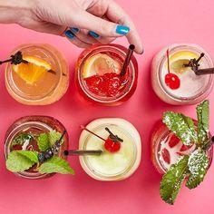Our Summer Drinks! Meet Rocker Cider Shandy, Sangria Rosa, Black Cherry Frozen Lemonade, Paradise Punch, Tropical Rock and non-alcoholic Summertime Blues! Summer Drinks, Fun Drinks, Frozen Lemonade, Shandy, Non Alcoholic, Sangria, Summertime, Food Porn, Cocktails