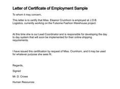 A letter of certification is a letter that is used to verify letter certificate employment sample images about certification pinterest letters yelopaper Image collections