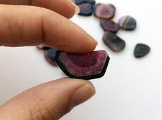 Black Tourmaline Slices Raw Black Tourmaline by gemsforjewels