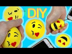 DIY Squishy charm y pelota anti stress de Play Doh: ideas con emojis o emoticonos #emojicrafts - YouTube