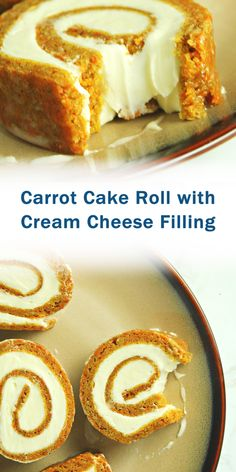 Carrot Cake Roll with Cream Cheese Filling - Dessert Bread Recipes Cake Roll Recipes, Best Dessert Recipes, Easy Desserts, Dessert Simple, Food Cakes, Cupcake Cakes, Cupcakes, Granny's Recipe, Cream Cheese Filling