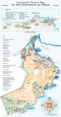 Illustrated Tourist Map of the Sultanate of Oman by Abigail Daker, via Behance. Beautiful cartography!