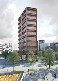 LAN . EURONANTES complex . NANTES  (1) Lan Architecture, High Rise Building, Amazing Buildings, Condominium, Skyscraper, Multi Story Building, Facades, Apartments, Commercial