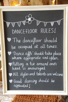 Dance floor rules board