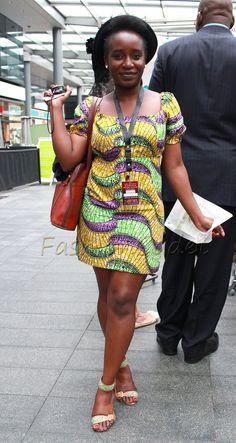 Mini ankara/kitenge shift dress, porkie pie hat & strap sandals