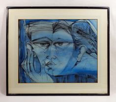 MODERNIST FIGURATIVE WATERCOLOR & INK, TITLED 'HYPNOS,' SIGNED ILLEGIBLY, 1960 (sold) #Modernist
