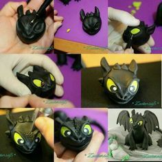 Toothless tutorial part 2 … Fondant Figures, Polymer Clay Figures, Toothless Cake, Toothless Dragon, Dragon Birthday Cakes, Dragon Cakes, Movie Cakes, Frosting Tips, Dragon Party