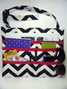 Car Seat Organizer Caddy Navy Chevron with Hot by SewProDesigns, $42.00