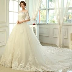 2016 Cathedral Train Lace Wedding Dresses A Line Half Sleeves Off The Shoulders Lace Up Wedding Gowns Bridal Gowns Wedding Dresses Strapless Wedding Gown For Sale From Gonewithwind, $502.52| Dhgate.Com