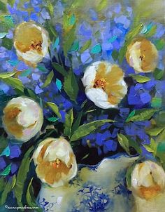 http://nancymedina.fineartstudioonline.com/workszoom/1636377 Touch of Winter White Tulips and All Good Things Happen by Design - Flower Paintings by Nancy Medina - See more at: