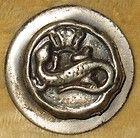 Antique Primitive Silvered Brass Picture Button Amphibian Salamander  Crown - amp, Amphibian, ANTIQUE, Brass, Button, Crown, PICTURE, PRIMITIVE, Salamander, Silvered