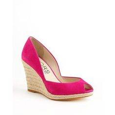 Women's Kors Michael Kors Vail Suede Wedge Pumps Pink 7.5 ($97) ❤ liked on Polyvore featuring shoes, pumps, wedges, pink, wedges shoes, wedge espadrilles, suede wedge pumps, espadrille wedge pump and pink espadrilles