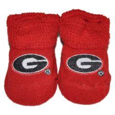 Georgia Bulldogs Two Feet Ahead Infant Baby Newborn Red Black Socks Booties