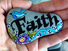 Painted rock / Faith / have a little faith / by LoveFromCapeCod
