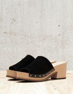 Bershka Malaysia - Leather BSK wooden clogs