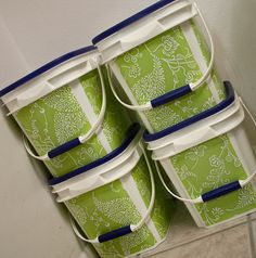 Kitty litter containers & contact paper = perfect stackable buckets for all sorts of things...