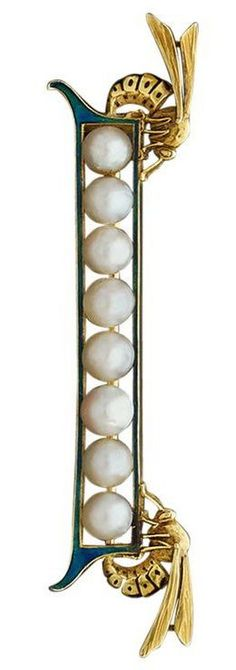 Art Nouveau Enamel Natural Pearl Gold Brooch