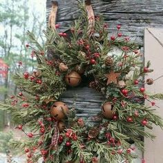 Country Christmas Wreath with large bells - 'Tis the Season in the country...