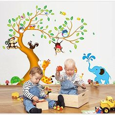 Lifeup Extra Large Cartoon Jungle Forest Colorful Tree and Animals ElephantMonkeysSquirrelTigerOwlsGiraffe Wall Art Stickers Decal Decoration Mural For Kids Nursery Bedroom Decoration >>> Check this awesome product by going to the link at the image. (Note:Amazon affiliate link)
