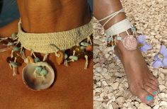 Larimar Dominicana y ganchillo ámbar gargantilla-collar Por MyBeachStore