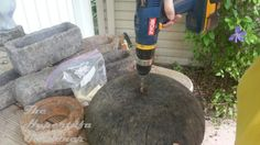 Making the drainage holes in your hypertufa containers