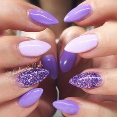purple-nails-designs-almond-light-base-glitter-accent Gel Nail Art Polish Trends Part five 2018 Nail Art Polish Trends Gel Nail Designs 2018 Gel Nail Art 2018 Light Purple Nails, Purple Glitter Nails, Purple Acrylic Nails, Purple Nail Art, Purple Nail Designs, Acrylic Nail Designs, Nail Art Designs, Nails Design, Purple Nails With Design