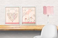 set of 2 art prints - garden theme art print , girls art, art for little girls, , petit jardin, little bunny by mmaiaartdesign. Explore more products on http://mmaiaartdesign.etsy.com