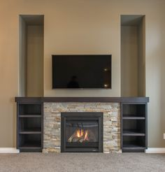 Fireplace Feature Wall with Custom Shelving