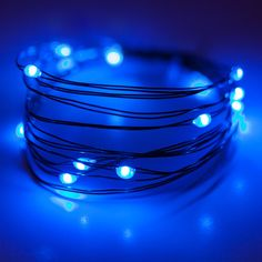 Gorgeous blue lights. These fairy lights are used as craft lights and for decorating with a super-shaping wire. Blue light love <3