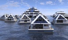 """Architecture firm Lazzarini Design Studio launched a crowdfunding campaign to build Wayaland, a city of 20 floating pyramids. Lazzarini is now enrolling """"citizens"""" for the city. Floating Architecture, Modern Architecture, Architecture Exam, Pyramid House, Floating Hotel, Slanted Walls, Renewable Sources Of Energy, Green Building, San Francisco Skyline"""