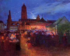 Ferdinand du Puigaudeau (France 1864-1930)- July 14th Fireworks at Bourg-de-Batz. part of the Pont-Aven school. His stuff is magical.