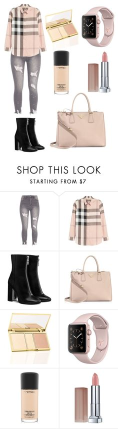 """Sin título #139"" by scarcia-valentina ❤ liked on Polyvore featuring Burberry, Prada, MAC Cosmetics, Maybelline and BrunchCollection"