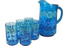 Blue Floral Pitcher & 5 Glasses