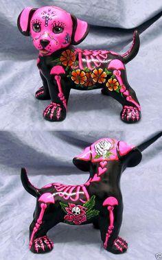Day of the Dead Painted Sugar Skull Dog Statue Puppy Labrador Dia De Los Muertos