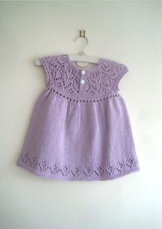 Cute independent knitting patterns for babies, girls, children and ladies Crochet Baby Jacket, Crochet Baby Dress Pattern, Baby Dress Patterns, Baby Clothes Patterns, Girls Knitted Dress, Knitted Baby Clothes, Baby Hats Knitting, Crochet Girls, Baby Outfits