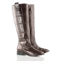 Dark brown leather boots in a Big Croc print. An absolute must have for this season! visit www.vcdltd.com for more boots and shoes.