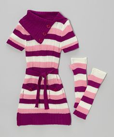 Take a look at this Pink Stripe Dress & Arm Warmers - Infant, Toddler & Girls by Dollhouse on #zulily today!