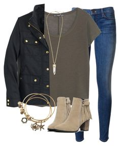 """""""OOTD"""" by prep-lover1 ❤ liked on Polyvore featuring Hudson, MANGO, Kendra Scott, J.Crew and Alex and Ani"""