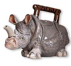Rhino Rhinoceros Whimsical Teapot Ceramic Blue Sky NIB