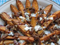 ROASTED SWEET POTATOES WITH BLUE CHEESE  CANDIED PECANS