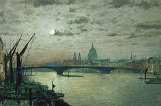 John Atkinson Grimshaw (1836-1893) Southwark Bridge and St. Paul's