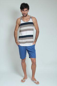 Moda Para Homens: Regata Listrada