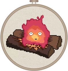 "Cross Stitch Pattern: Blushing Calcifer from Miyazaki's ""Howl's Moving Castle"""