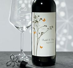Personalized Romantic Butterfly Wedding Wine Label