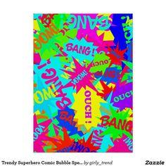 Trendy Superhero Comic Bubble Speech Neon Colors Poster