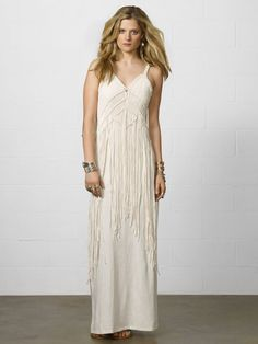 Macramé Maxidress – This soft cotton jersey maxidress is designed with a bohemian-inspired macrame overlay and a body-conscious silhouette.